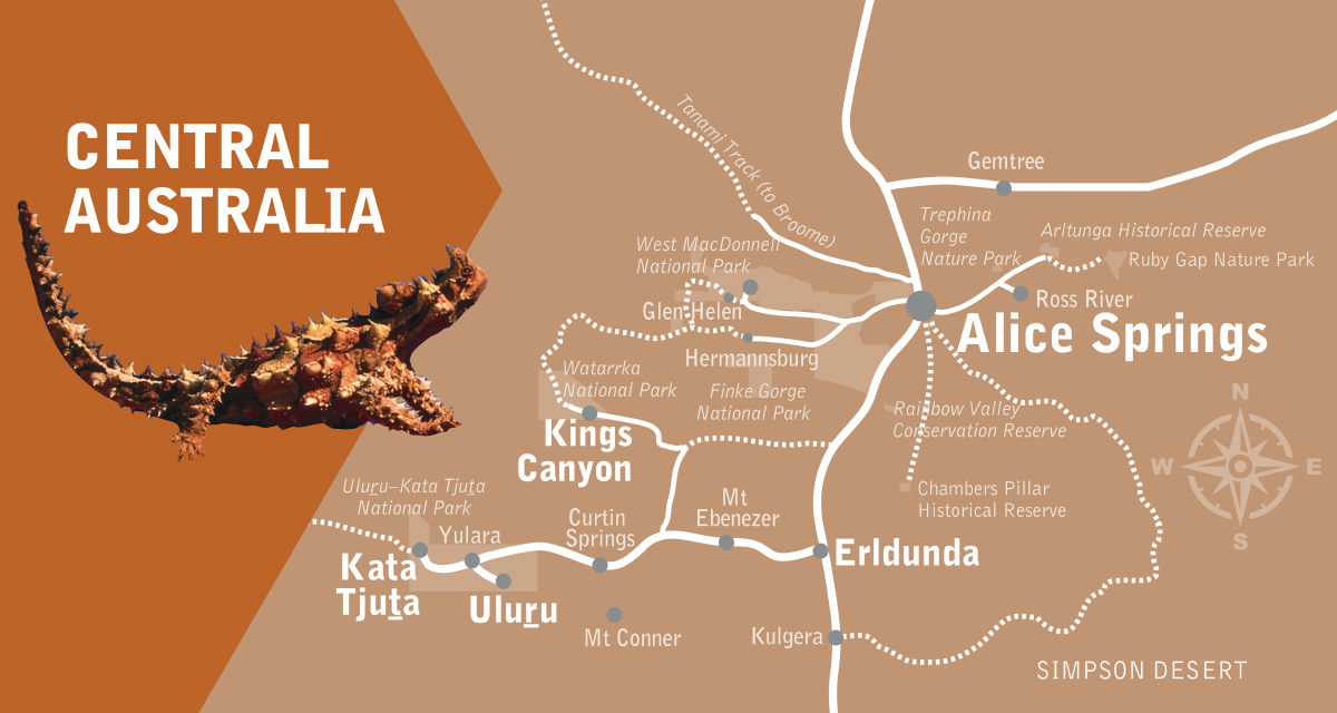 Suggested Itinerary – Central Australia Map