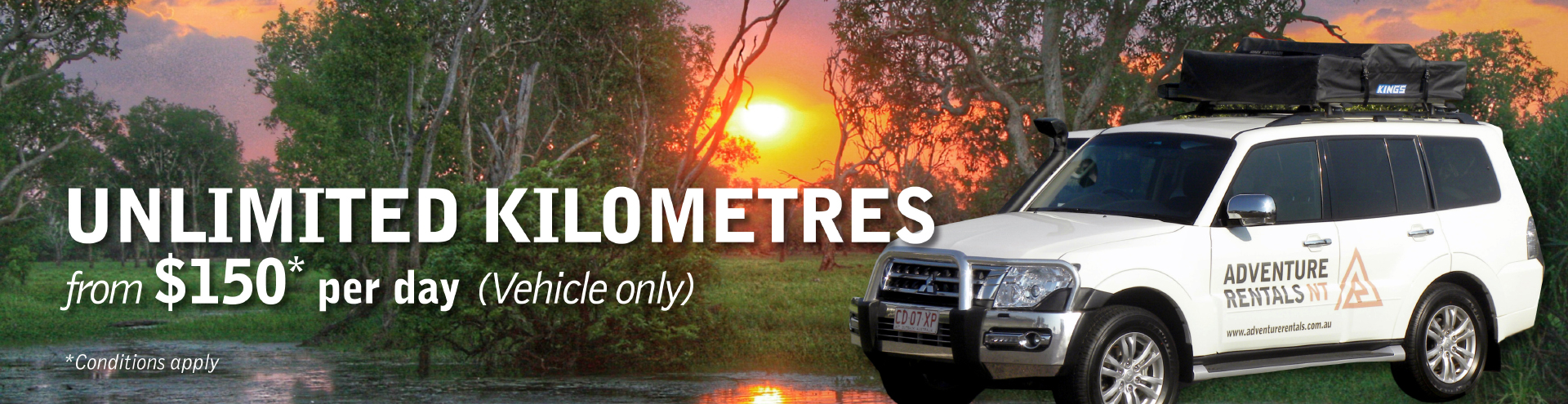 4WD hire with unlimited kilometres!