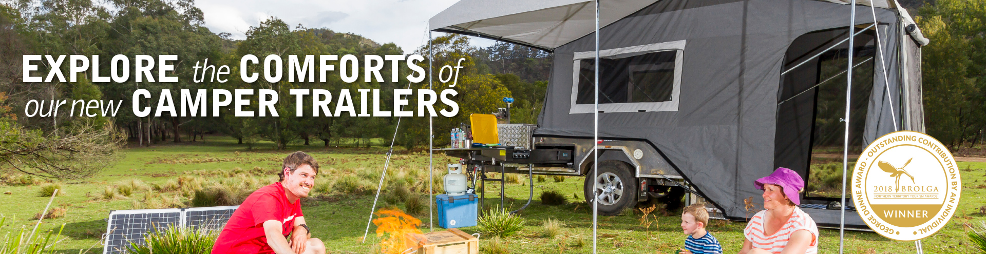 Explore the comforts of our new camper trailers