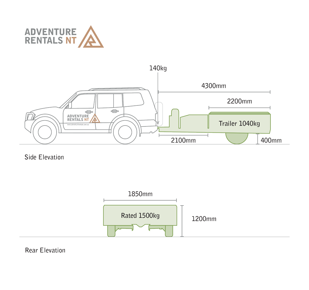Adventure Rentals Camper Trailer | side & rear elevations