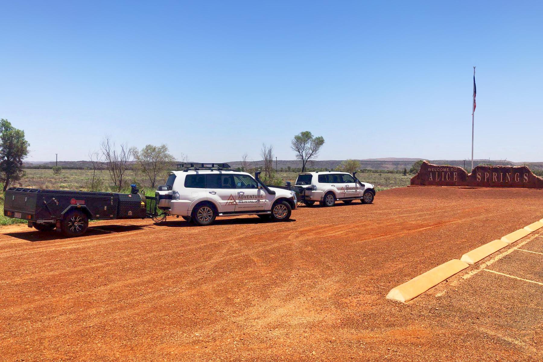 Adventure Rentals MARS camper trailers at Alice Springs
